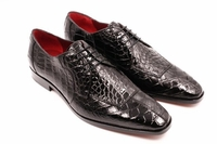 David Eden Mens Black Alligator Shoes Split Toe Capelli