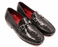 David Eden Mens Black Ostrich Skin Buckle Loafer Shoes Drake