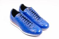 David Eden Mens Electric Blue Ostrich Skin Sneakers Alesi