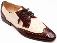 David Eden Mens Brown and Bone Alligator Ostrich Shoes Wingman