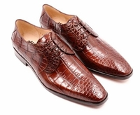 David Eden Mens Cognac Alligator Shoes Lace Up Fitipaldi