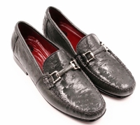 David Eden Mens Grey Ostrich Skin Buckle Loafer Shoes Drake