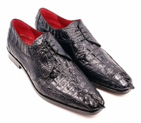 David Eden Mens Navy Blue Crocodile Shoes Horn Back Cancun