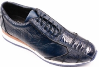 David Eden Mens Navy Ostrich Skin Sneakers Zig Zag