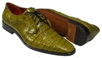 David Eden Mens Olive Green Alligator Shoes Lace Up Fitipaldi