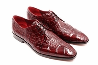 David Eden Mens Wine Alligator Shoes Split Toe Capelli