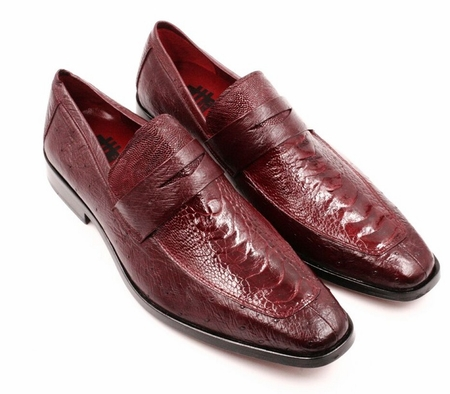 David Eden Mens Wine Ostrich Skin Shoes Penny Loafer Fangio - click to enlarge