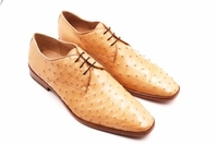 David Eden Mink Beige Bumpy Ostrich Skin Shoes Connor