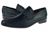 David Eden Shoes Black Ostrich Skin Penny Loafer Fangio