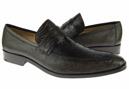 David Eden Shoes Brown Ostrich Skin Penny Loafer Fangio - click to enlarge
