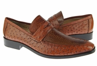 David Eden Shoes Cognac Ostrich Skin Penny Loafer Fangio