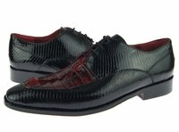 David Eden Shoes Mens Black Cherry Crocodile Lizard Lace Up Juarez