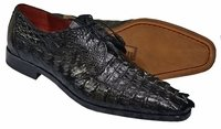 David Eden Shoes Mens Black Crocodile Horn Back Cancun