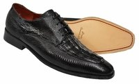 David Eden Shoes Mens Black Crocodile Lizard Lace Up Juarez