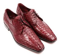 David Eden Shoes Mens Burgundy Wine Crocodile Horn Back Cancun