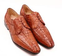 David Eden Shoes Mens Cognac Crocodile Horn Back Lace Up Cancun