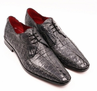 David Eden Shoes Mens Gray Crocodile Horn Back Cancun