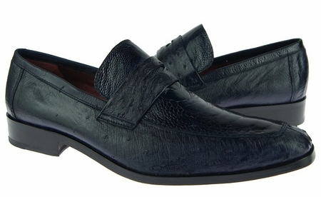 David Eden Shoes Navy Blue Ostrich Skin Penny Loafer Fangio - click to enlarge