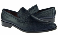 David Eden Shoes Navy Blue Ostrich Skin Penny Loafer Fangio
