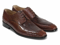David Eden Teju Brown Lizard Top Ostrich Skin Shoes
