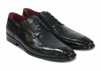 David Edens Mens Black Lizard/Ostrich Shoes Teju