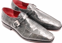 David Edens Mens Grey Alligator Buckle Shoes Hill
