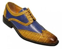 Liberty Mens Mustard Blue Two Tone Leather Dress Shoes 827