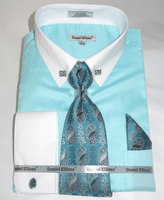 DE Big Man Mint Collar Bar Dress Shirt Tie Hanky Set DS3790P2