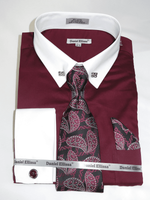DE Big Man Burgundy Collar Bar Dress Shirt Tie Hanky Set DS3790P2