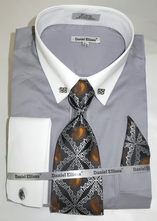 DE Big Man Gray Collar Bar Dress Shirt Tie Hanky Set DS3790P2