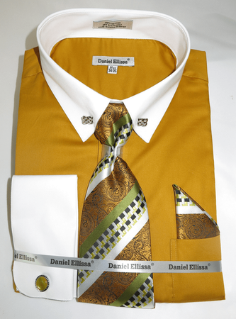 DE Big Man Mustard Collar Bar Dress Shirt Tie Hanky Set DS3790P2 - click to enlarge