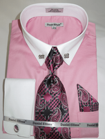 DE Big Man Pink Collar Bar Dress Shirt Tie Hanky Set DS3790P2