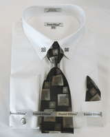 DE Big Man White Collar Bar Dress Shirt Tie Hanky Set DS3790P2