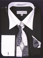 DE Big Size Mens Black White Dress Shirt Tie Set DS3006WTPRT