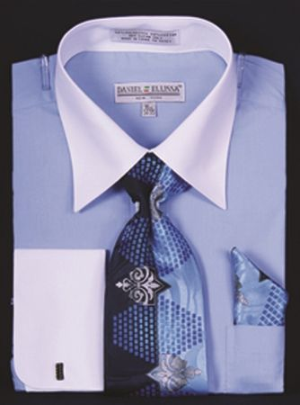 DE Big Size Mens Blue White Dress Shirt Tie Set DS3006WTPRT