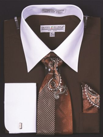 DE Big Size Mens Brown White Dress Shirt Tie Set DS3006WTPRT