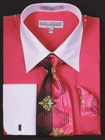 DE Big Size Mens Fuchsia White Dress Shirt Tie Set DS3006WTPRT