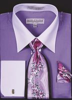 DE Big Size Mens Lavender White Dress Shirt Tie Set DS3006WTPRT