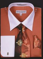 DE Big Size Mens Rust White Dress Shirt Tie Set DS3006WTPRT
