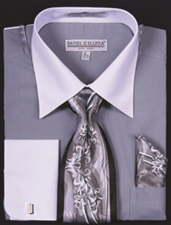 DE Big Size Mens Silver White Dress Shirt Tie Set DS3006WTPRT - click to enlarge