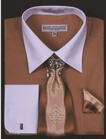 DE Big Size Mens Tan White Dress Shirt Tie Set DS3006WTPRT