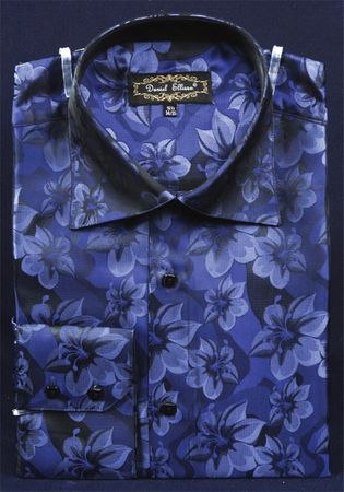 Mens High Collar Shirts Blue Shiny Floral Design FSS1402