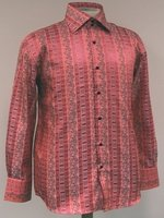 Mens High Collar Shirts DE Fancy Design FSS1404 Coral
