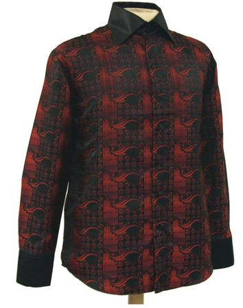 Mens High Collar Shirts DE Bold Pattern FSS1406 Black