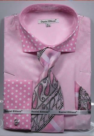 DE Men's Pink Polka Dot French Cuff Dress Shirt Tie Combo DS3780P2 - click to enlarge