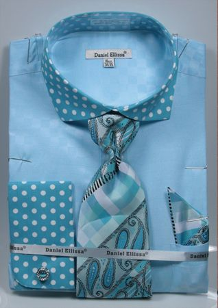 DE Men's French Cuffed Dress Shirt Polka Dot Style Tie Hanky Turquoise DS3780P2 - click to enlarge