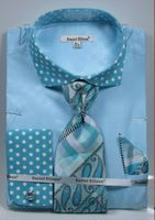 DE Men's French Cuffed Dress Shirt Polka Dot Style Tie Hanky Turquoise DS3780P2