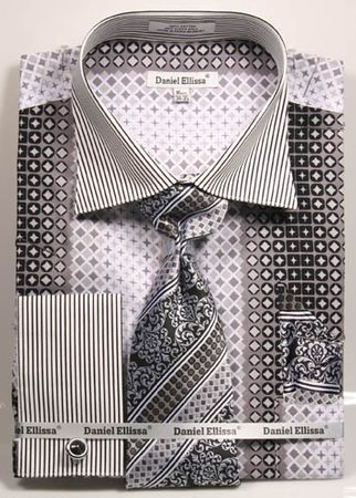 DE Mens Big Size Black Geo Pattern Dress Shirts DS3786P2 - click to enlarge
