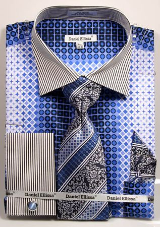 DE Mens Big Size Blue Geo Pattern Dress Shirts DS3786P2