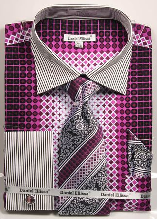 DE Mens Big Size Purple Geo Pattern Dress Shirts DS3786P2